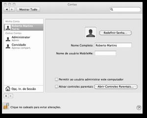 Conta padrão Mac OS X