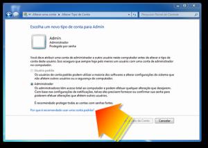 Tipo de Conta no Windows 7