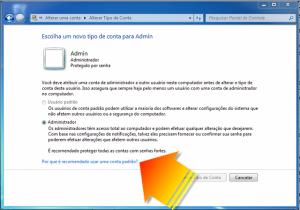 Mudanto o tipo de conta no Windows 7