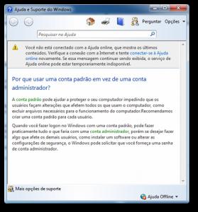 Ajuda sobre Tipos de Contas no Windows 7
