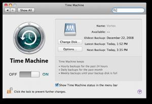 Preferências do Time Machine