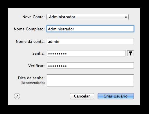 Adicionando conta de administrador - OS X Lion