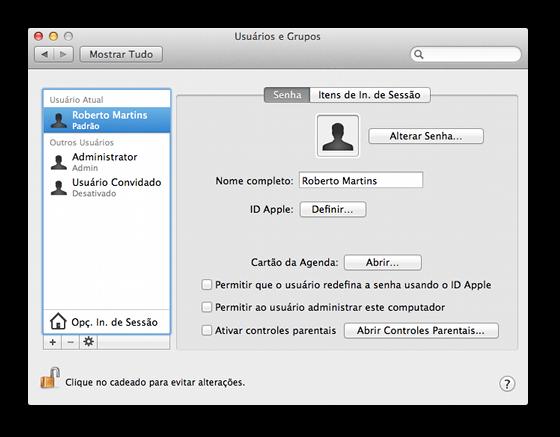 Conta padrão no OS X Lion